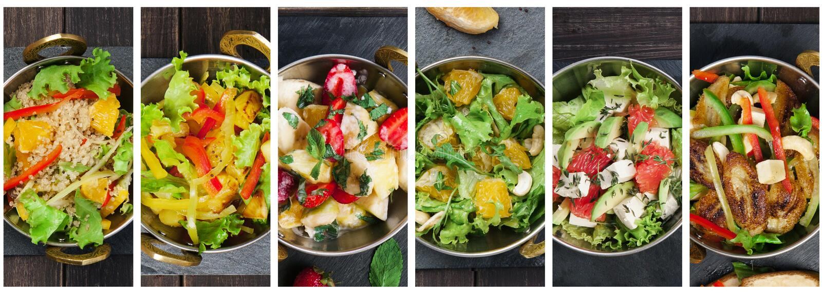 Collage of various plates of salad kinds royalty free stock photo
