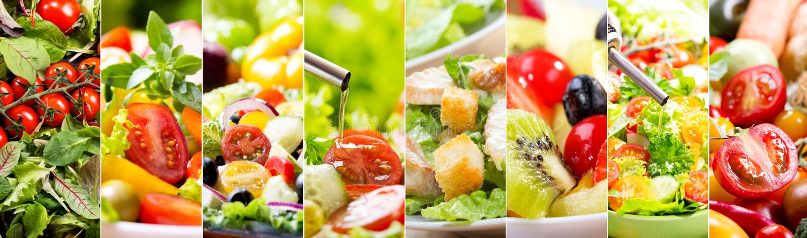 Collage of various salad royalty free stock photography