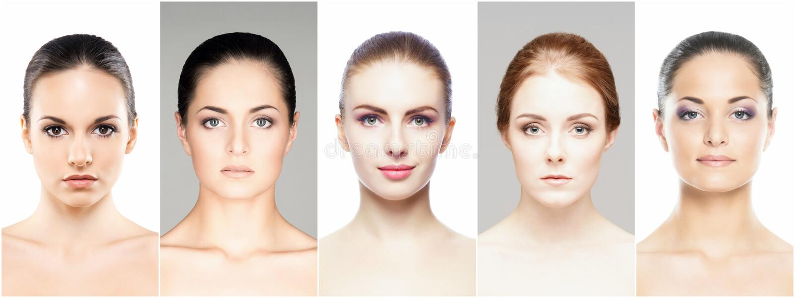 Collage of various spa female portraits royalty free stock photo