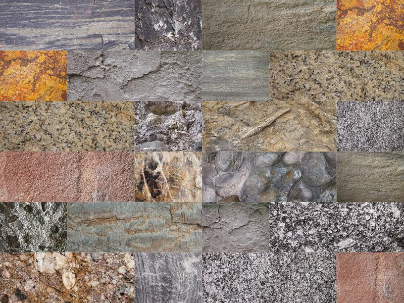 Collage of various stone type details. Wallpaper/background created as a collage of various stone type details stock photo