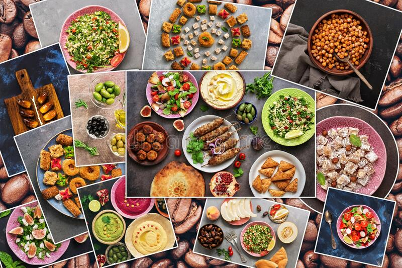 Collage of various traditional Arabic and Middle Eastern food. Collection of photos with Arab dishes. View from above stock photo