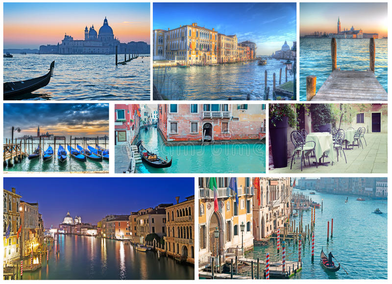 Collage of Venice photos stock images