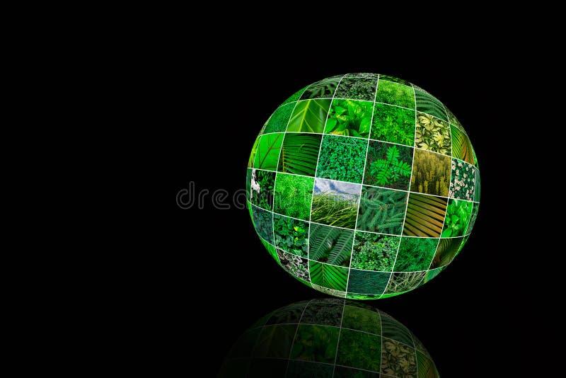 Collage verde de la naturaleza Concepto creativo del planeta verde Día de tierra Copie el espacio imagen de archivo libre de regalías