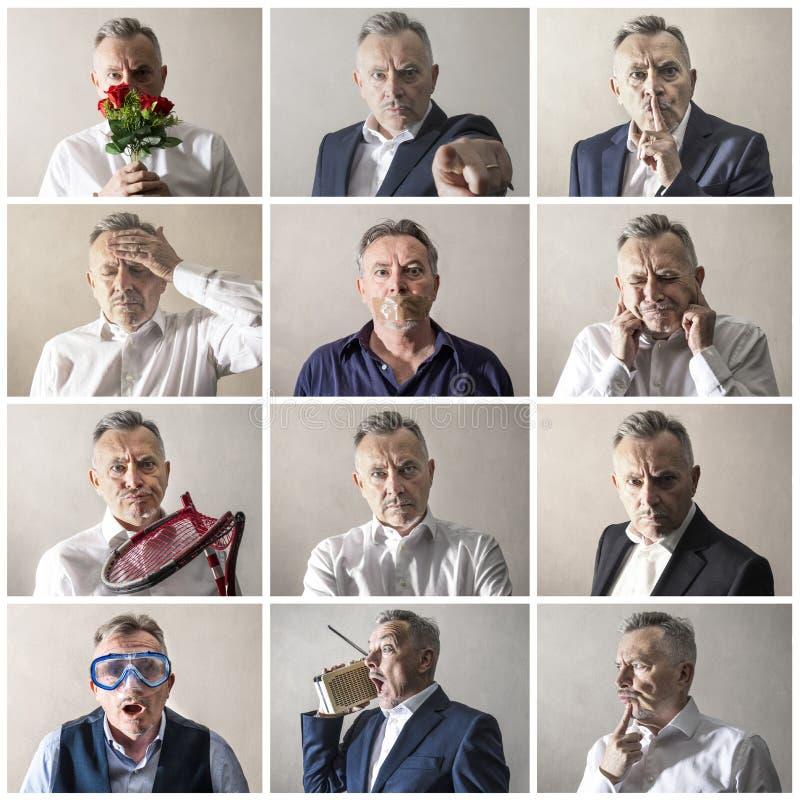 Collage vieler Geschäftsmannausdrücke stockfotos