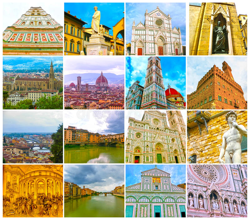 Collage from views of the Florence, Italy royalty free stock photos