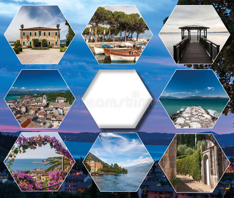 The collage from views of Lake Garda royalty free stock images
