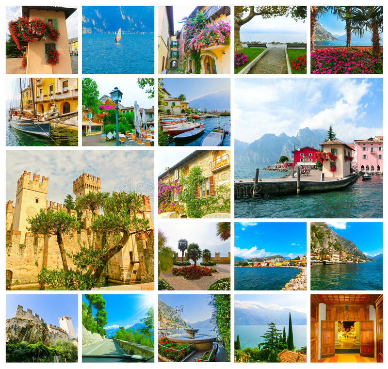 The collage from views of Lake Garda stock photos