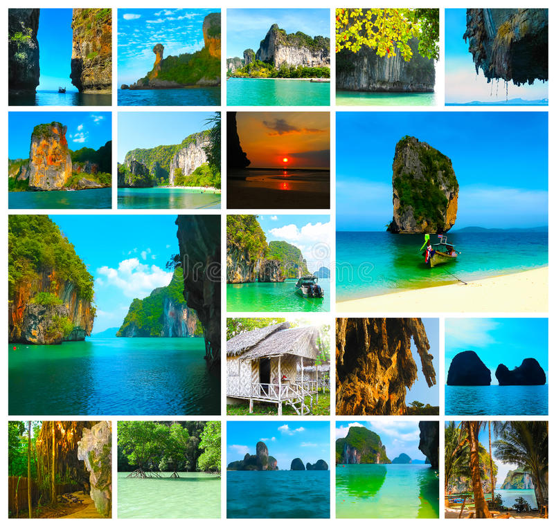 The collage of views of tropical landscape. Railay beach, Krabi, Thailand. Tropical landscape of Railay beach, Krabi Thailand. Collage royalty free stock photography