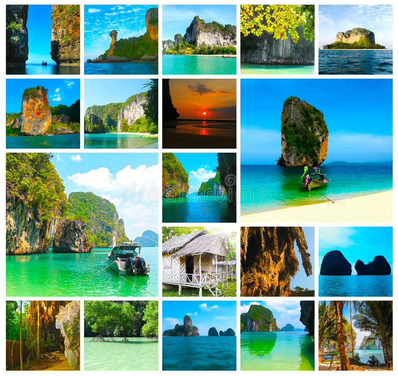 The collage of views of tropical landscape. Railay beach, Krabi, Thailand. Tropical landscape of Railay beach, Krabi Thailand. Collage royalty free stock photo