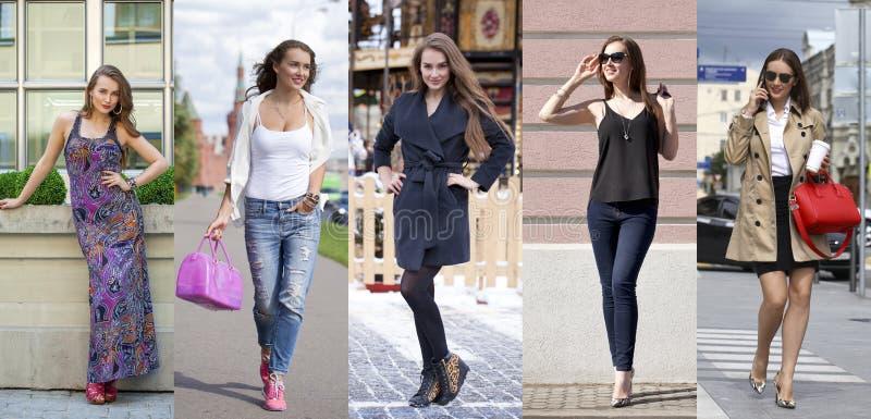 Collage vijf manier jonge vrouwen royalty-vrije stock afbeelding