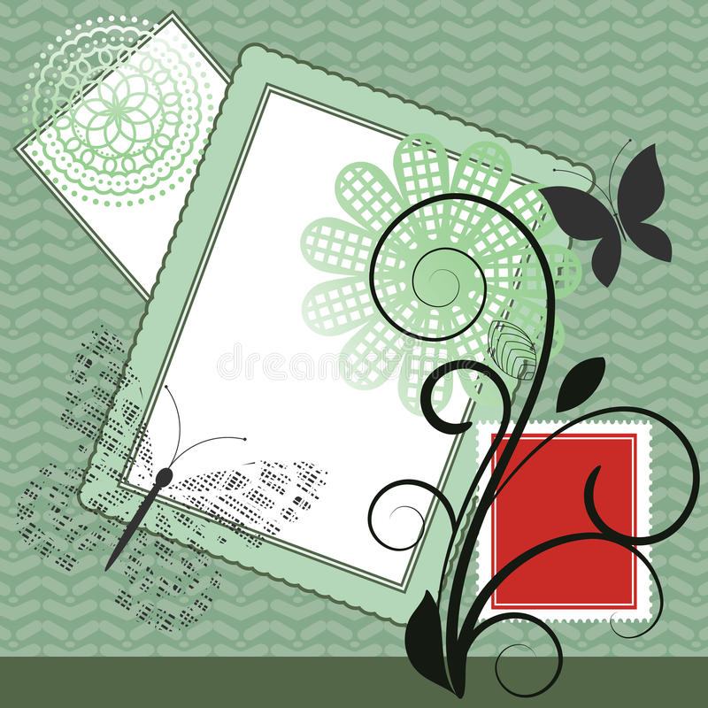 Collage with vine vector illustration