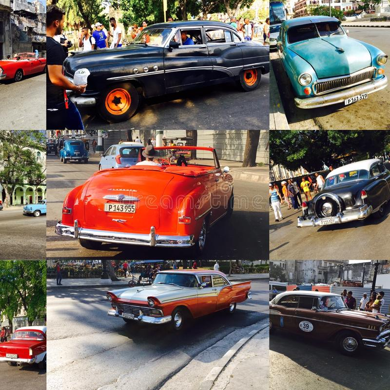 Collage of vintage cars royalty free stock photos