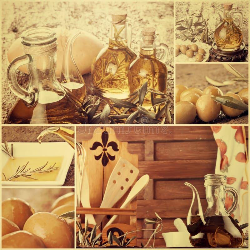 Collage virginal adicional del aceite de oliva imagen de archivo libre de regalías