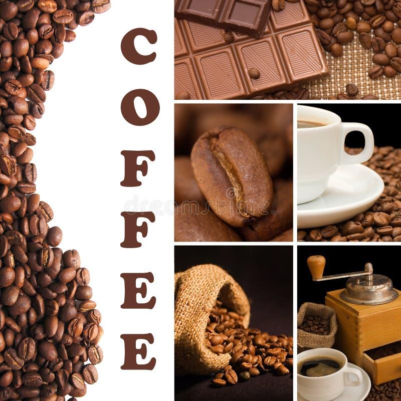 Collage vom wohlriechenden Kaffee stockbild