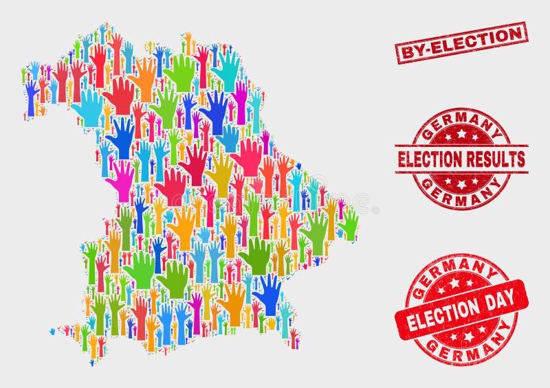 Collage von Abstimmungs-Deutschland-Karte und von verkratztem Nachwahl-Stempel vektor abbildung