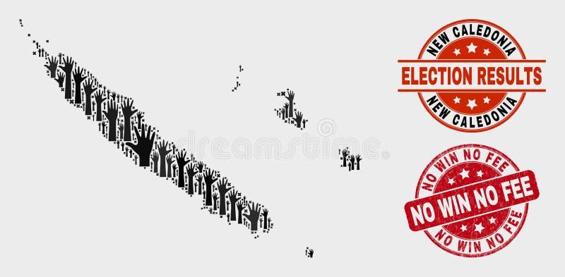 Collage von Abstimmungsneukaledonien-Inseln zeichnen auf und verkratzten keinen Gewinn kein Gebührenstempel vektor abbildung