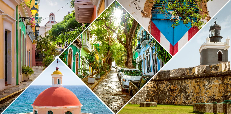 Collage von altem San Juan, Puerto Rico stockfoto