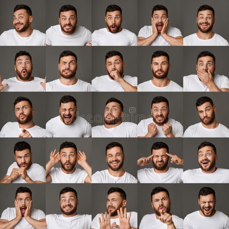 Collage von Ausdrücken und von Gefühlen des jungen Mannes lizenzfreies stockfoto