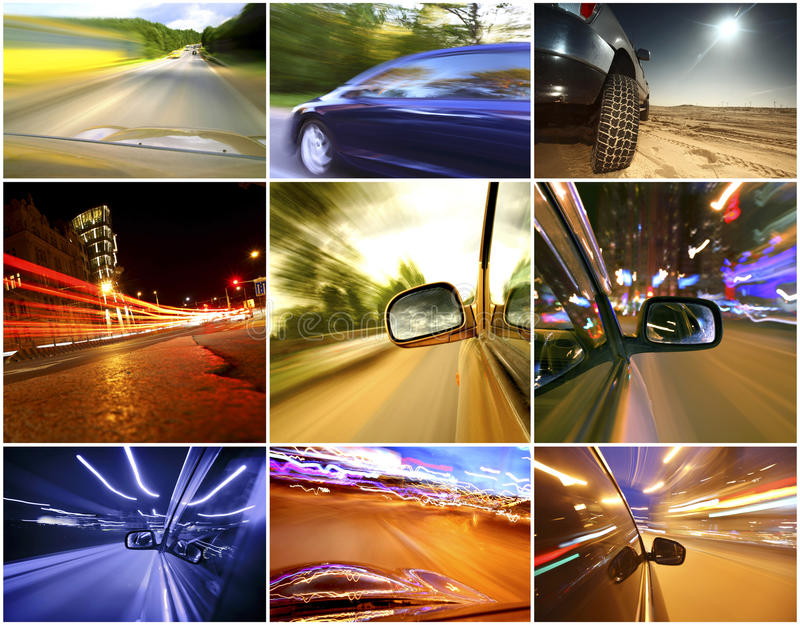Collage von Autos stockfoto
