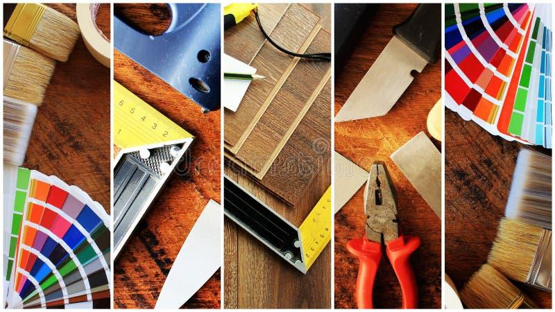 Collage von Bauwerkzeugen Hauserneuerungshintergrund lizenzfreie stockfotos