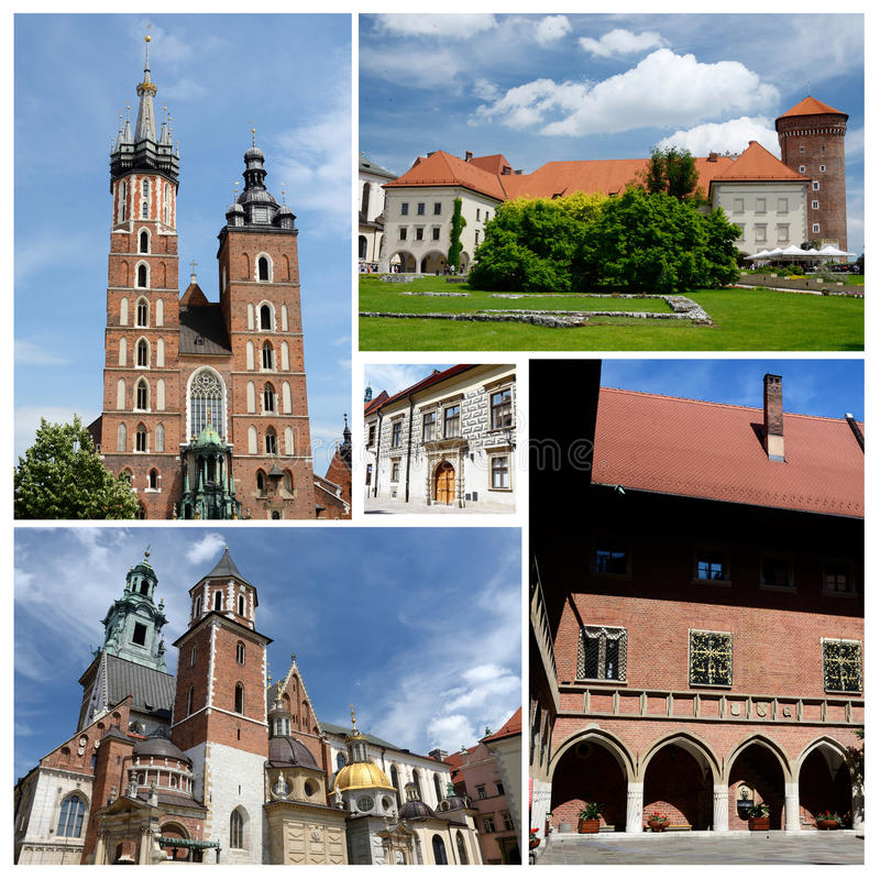 Collage von berühmten Marksteinen Krakaus, aufgelistet als UNESCO-Erbe lizenzfreies stockbild