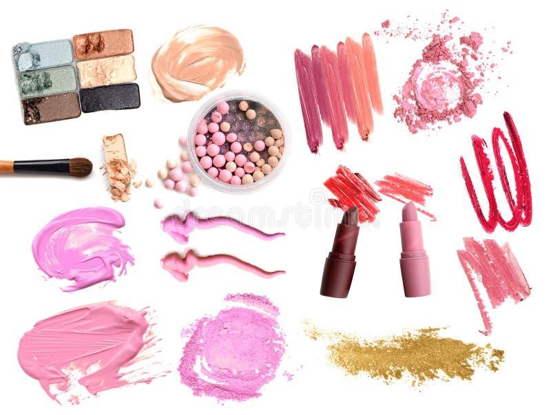 Collage von bilden Kosmetik auf weißem Hintergrund Schönheit und Make-upkonzept lizenzfreies stockfoto