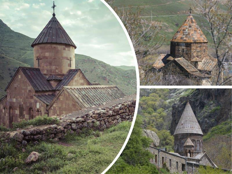 Collage von Bildern der Klöster (Armenien) - Reisehintergrund (m stockfoto