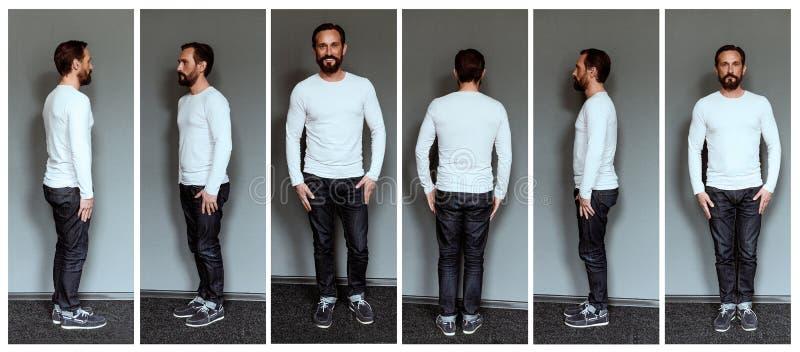 Collage von Bildern des mittleren gealterten Schauspielers in voller Länge lizenzfreie stockfotografie