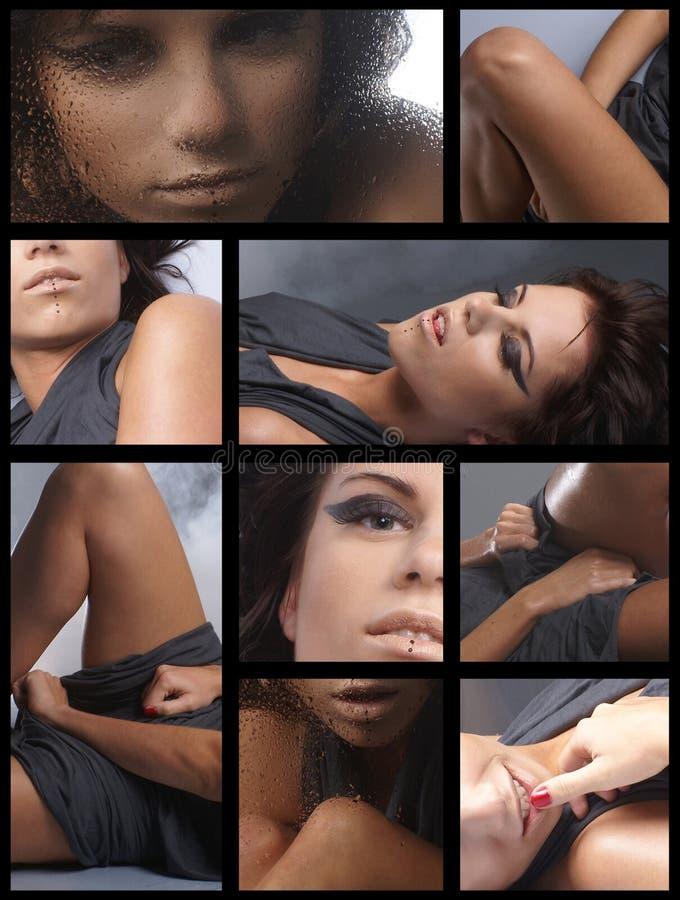 Collage von Bildern mit einem jungen Brunette stockbild