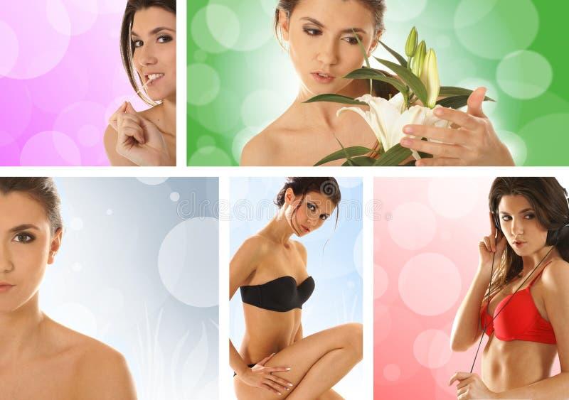 Collage von Bildern mit einem jungen Brunette lizenzfreie stockfotos
