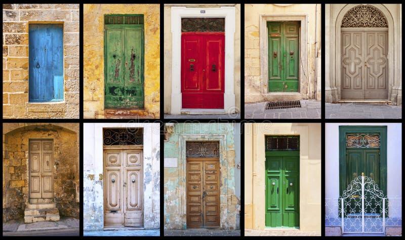 Collage von bunten antiken maltesischen Türen stockfoto