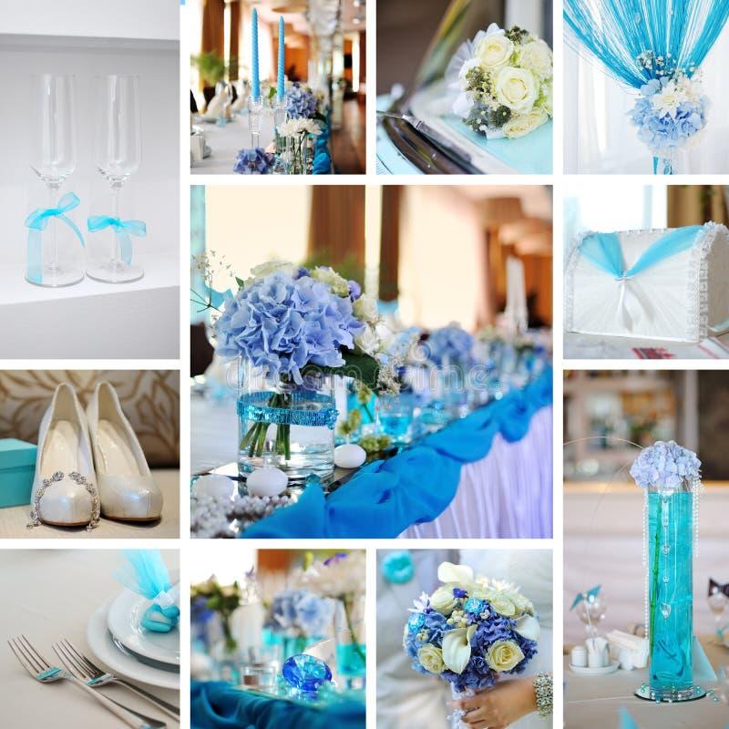 Collage von den Hochzeitsfotos stockfotografie
