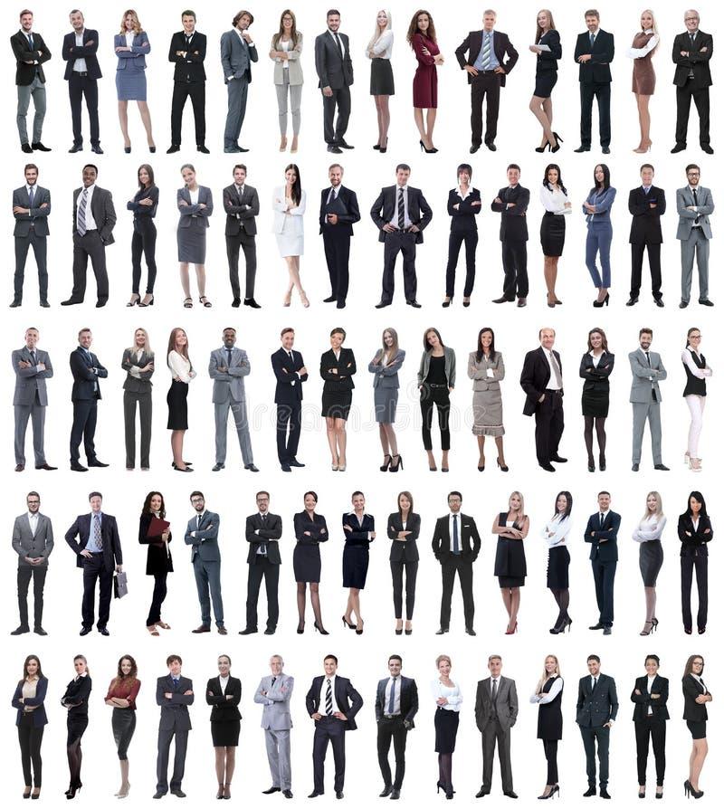 Collage von den jungen Geschäftsleuten, die in Folge stehen lizenzfreie stockfotos