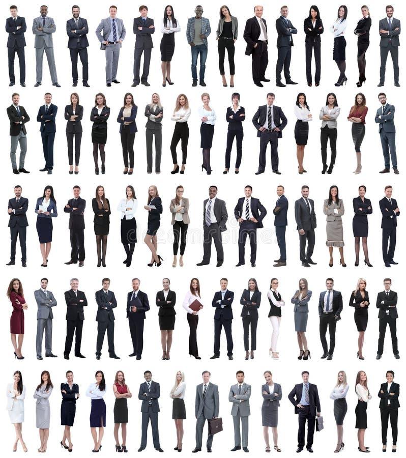 Collage von den jungen Geschäftsleuten, die in Folge stehen stockfoto