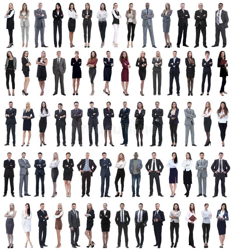 Collage von den jungen Geschäftsleuten, die in Folge stehen lizenzfreies stockfoto