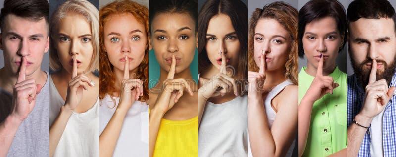 Collage von den verschiedenen Leuten, die Stille machen, unterzeichnen am Studiohintergrund stockbilder