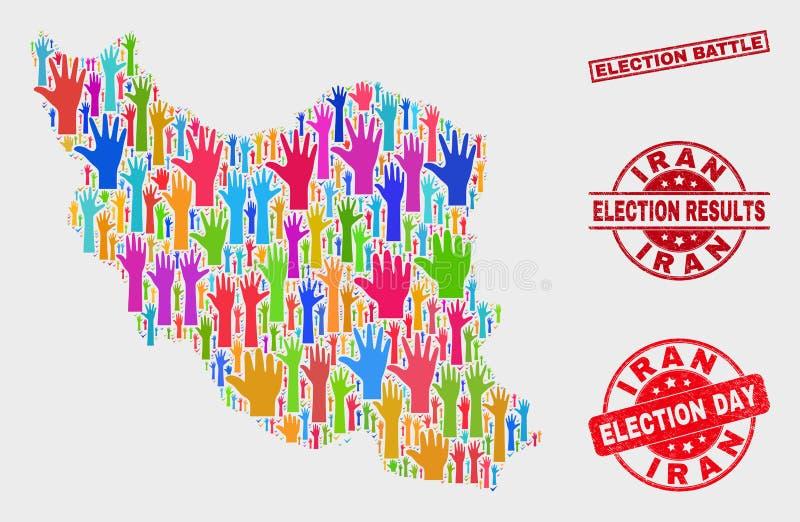 Collage von der Abstimmungs-Iran-Karte und von Bedrängnis-Wahl-Kampf-Dichtung stock abbildung