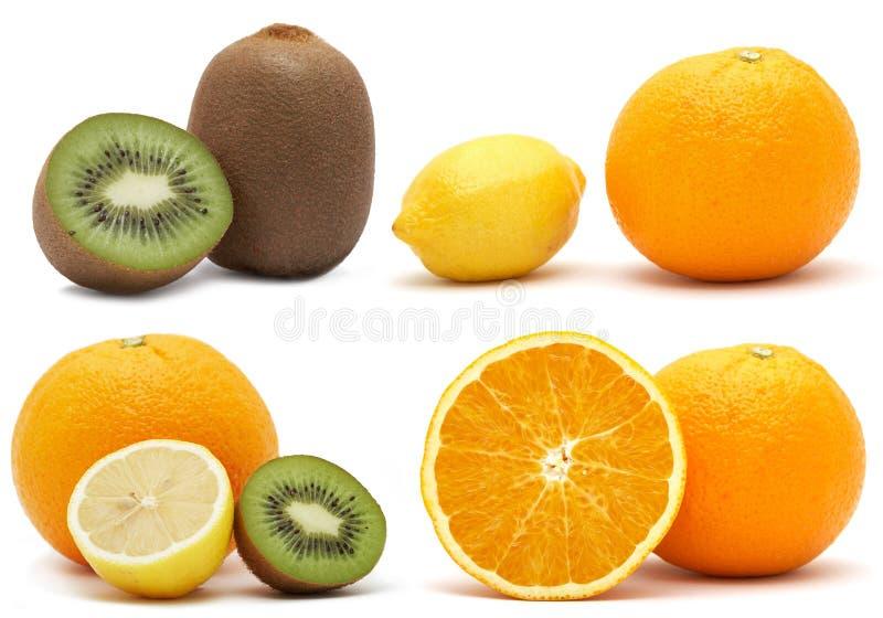 Collage von der Zitrusfrucht und von der Kiwi lizenzfreie stockbilder