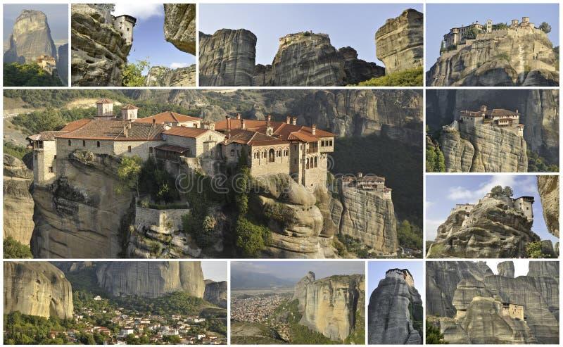 Collage von elf Meterora-Bildern lizenzfreie stockfotos