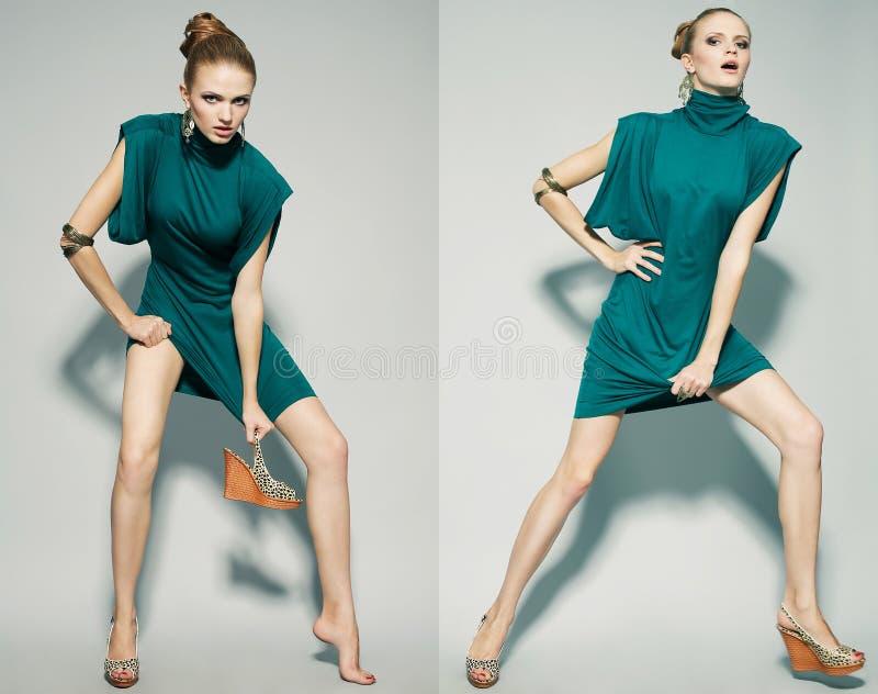 Collage von emotionalen Porträts eines herrlichen Mode-Modells stockfotografie