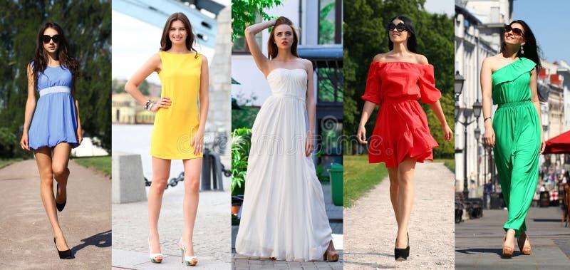 Collage von fünf schönen Modellen in farbigem Sommer kleidet an stockbilder