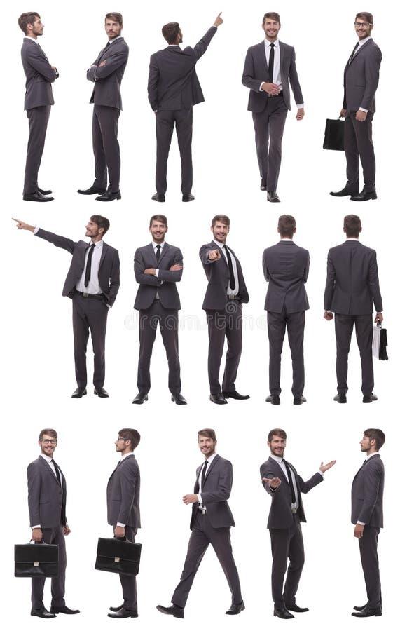 Collage von Fotos eines erfolgreichen Gesch?ftsmannes Lokalisiert auf Wei? lizenzfreie stockfotos