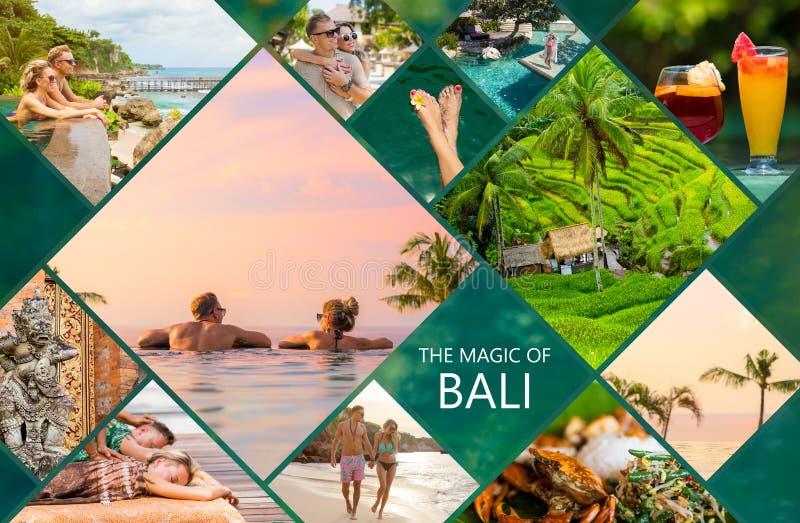 Collage von Fotos von schöner Bali-Insel in Indonesien stockbild