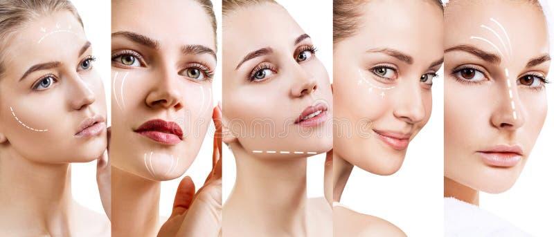 Collage von Frau ` s Gesichtern mit anhebenden Pfeilen stockfotos