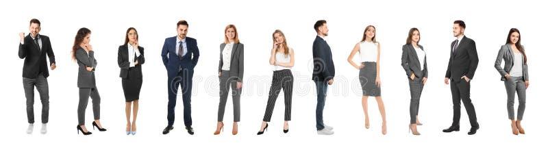 Collage von Gefühlsmenschen auf weißem Hintergrund lizenzfreie stockfotografie