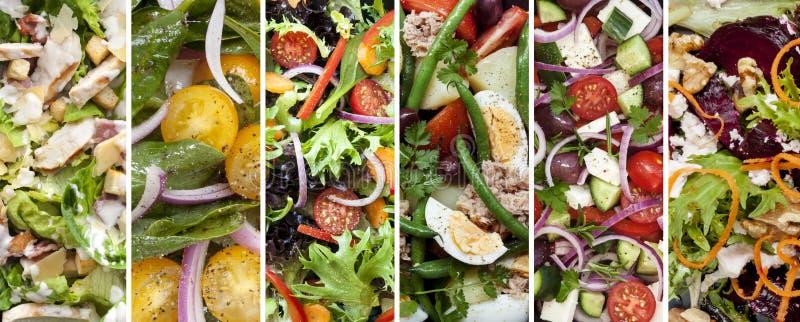 Collage von gesunden Salaten stockfotos