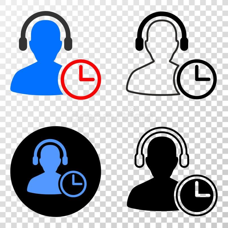 Collage von Gradiented punktierte Betreiber-Zeit und Grunged-Stempel vektor abbildung