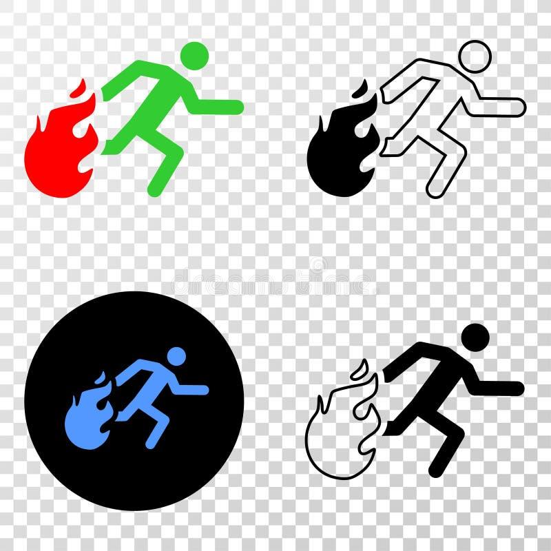Collage von Gradiented punktierte die Person, die weg von Feuer und Grunged-Stempel läuft stock abbildung