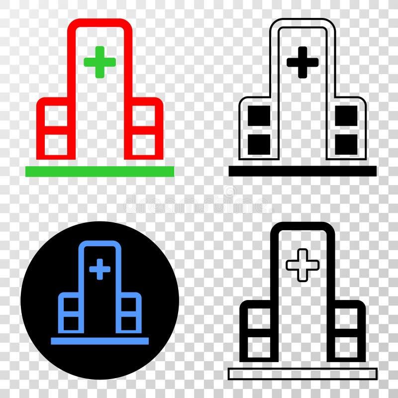 Collage von Gradiented punktierte Klinik-Gebäude und Grunged-Stempel lizenzfreie abbildung