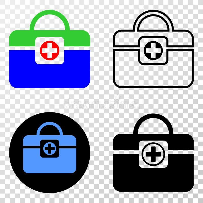 Collage von Gradiented punktierte medizinische Handtasche und Grunged-Stempel lizenzfreie abbildung
